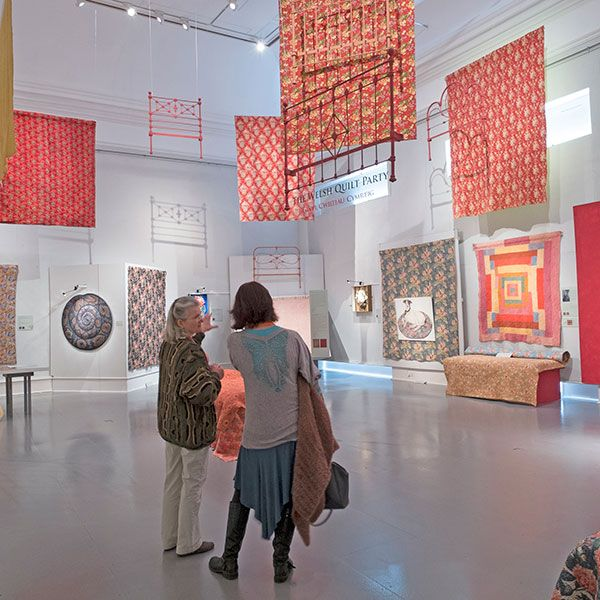 "Gallery view of the ""Welsh Quilt Party"" exhibition at the Welsh Quilt Centre"