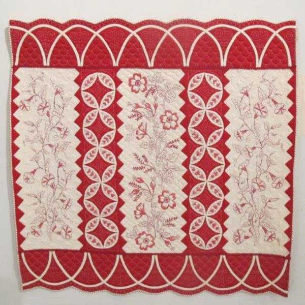Redwork Strippy Quilt by Jacquie Harvey